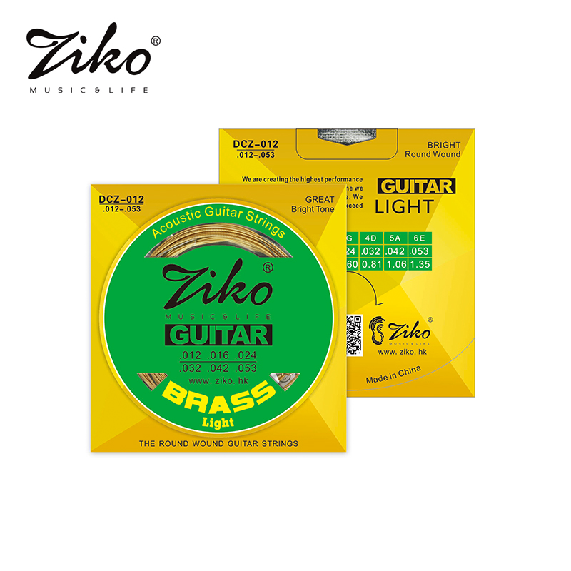 Ziko brass acoustic guitar strings DCZ-010/011/012